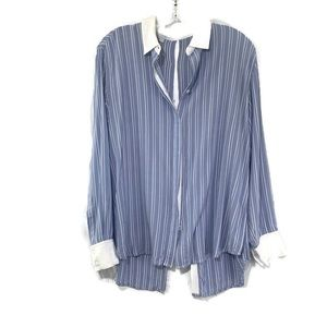 RAILS Tatum Back Button blue white striped shirt L